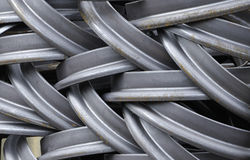 Steel rims. An image of the output of a small foundry in the midlands, notably steel rims stock images