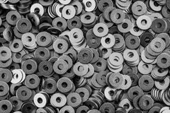 Steel ring circle, metal shining washers Stock Image