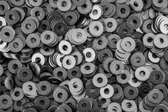 Steel ring circle, metal shining washers. Background Royalty Free Stock Photography