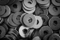 Steel ring circle, metal shining washers Stock Image
