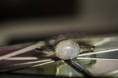 Steel ring with moonstone Stock Images