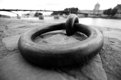 Steel ring for mooring on the waterfront of the River Seine in Paris. Stock Images