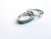 Steel rings with crystals Royalty Free Stock Image