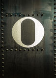 0 on Steel With Rivets Royalty Free Stock Photography