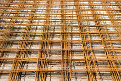 Steel road net used to reinforce inside concrete Royalty Free Stock Photo
