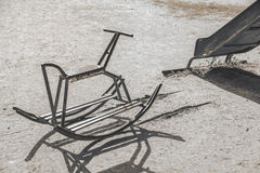 Steel rocking horse chair in playground children could enjoy. The riding Stock Photography