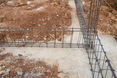 Steel rod for beam and pillar at construction site Stock Photography