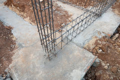 Steel rod for beam and pillar at construction site Royalty Free Stock Photography