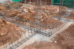Steel rod for beam and pillar at construction site Stock Images
