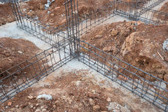 Steel rod for beam and pillar at construction site Royalty Free Stock Photo