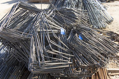 Steel rod bent into squares Royalty Free Stock Images