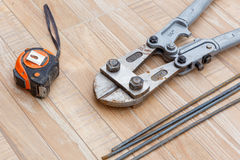 Steel rod cutter for construction job Stock Images