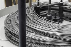 Steel rod raw material. For bending machine Stock Image