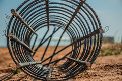 Steel rod used for poles construction with reinforce concrete at Royalty Free Stock Image