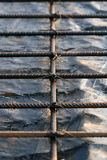 Steel rods. A close  up of  the steel reinforcement rods Stock Photography