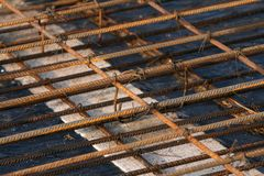 Steel rods. A close  up of  the steel reinforcement rods Royalty Free Stock Photos