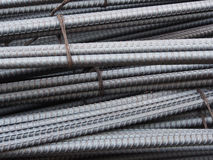 Steel rods or bars used to reinforce concrete Stock Photography
