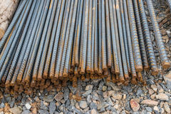Steel rods or bars used to reinforce concrete Stock Images