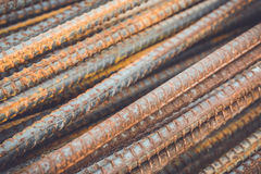 Steel rods or bars used to reinforce concrete Stock Photos