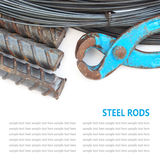 Steel rods or bars used to reinforce concrete technicians isolat Royalty Free Stock Photography