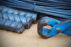 Steel rods or bars used to reinforce concrete technicians. Stock Images