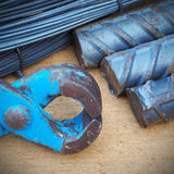Steel rods or bars used to reinforce concrete technicians. Royalty Free Stock Image