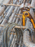 Steel rods or bars used to reinforce concrete technicians. Stock Photos