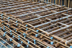 Steel rods placed in parallel used for construction Stock Photo