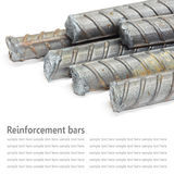 Steel rods, Reinforcement bars isolated on white background used Stock Photos