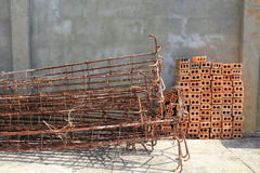 Steel rods used to reinforce concrete Stock Images