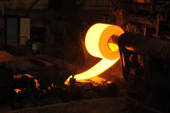 Steel Roll. Hot steel roll manufacturing industry Stock Photography