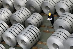 Steel roll stock Royalty Free Stock Image
