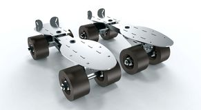Steel roller Skates isolated on a white background Stock Images