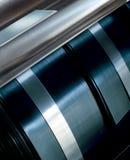 Steel rolls. Blueish steel rolls detail Royalty Free Stock Photos