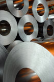 Steel rolls. At the factory stock photo