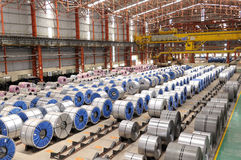 Steel Rolls in Factory Royalty Free Stock Images