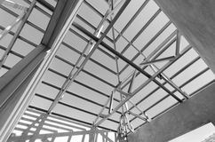 Steel Roof Black and White-07 Stock Photo
