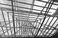 Steel Roof Black and White Stock Image