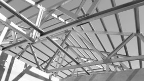 Steel Roof Black and White. Structure of steel roof frame for construction.Used for Prefabricated House system Royalty Free Stock Photography