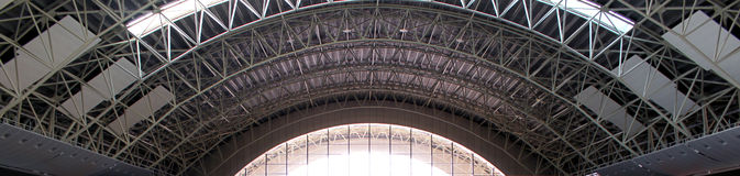 Steel roof construction. Of an airport Stock Photos
