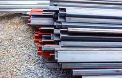 Steel roof for home construction job Stock Images
