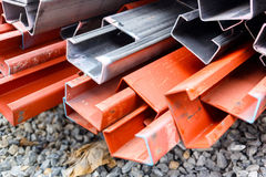 Steel roof for home construction job Stock Photo