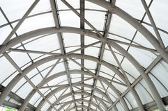 Steel roof structure, entrance to department stores. Royalty Free Stock Image