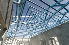 Steel Roof-11. Structure of steel roof frame for construction Royalty Free Stock Photography