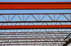 Steel Roof Trusses. Structural Steel Roof Support Trusses under construction Royalty Free Stock Photography