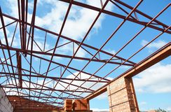 Steel Roof Trusses. Metal Roof Frame Construction with Steel Roo Royalty Free Stock Images