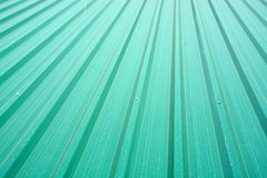 Steel roof. View of green steel roof on top of a building Royalty Free Stock Photo