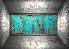 Steel room. The old steel cracked rusty room Stock Image