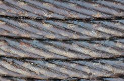 Steel rope in grease. As industrial background Stock Images