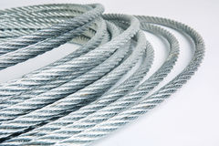 Steel rope. Reeled up in roll Stock Images